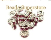 SALE 6 mm Fuchsia Silver-Plated Brass Crystal Rhinestone Rondelle - Grade AAA - Nickel Free and Lead Free - 20 pcs