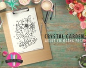 Crystal Cluster Garden downloadable printable coloring page - Floral and Crystals printable coloring page