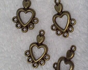 5 19x12mm bronze heart connectors