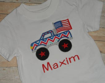 4th of July Patriotic Infant Baby Toddler Boys Custom Holiday Shirt Monster Truck Flag Chevron 3 6 9 12 18 24 2T 3T 4T 5T