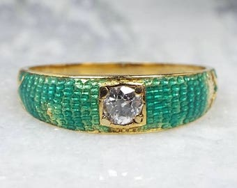 Antique Victorian Art Nouveau 18ct Gold Diamond Enamel Mermaid Scales Ring / Size R 1/2