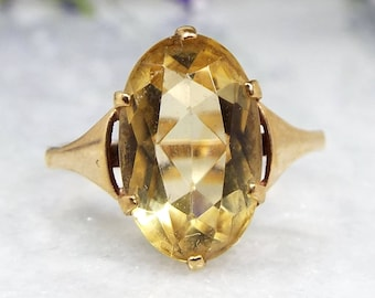 Antique / Edwardian 9ct Yellow Gold Solitaire Canary Yellow Oval Citrine Ring / Size N