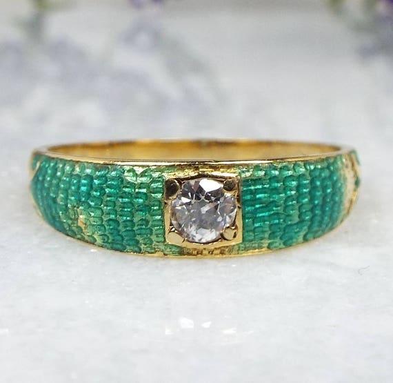 Antique Victorian Art Nouveau 18ct Gold Diamond Enamel Mermaid Scales Ring / Size R 1/2