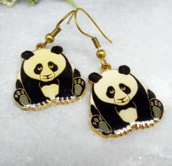 Vintage / Adorable Gold Panda Bear Cloisonne Enamel Hook Drop Dangle Earrings