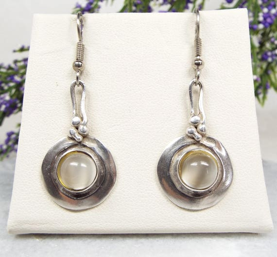 Vintage / Sterling Silver Arts and Crafts Grey Moonstone Hook Drop Earrings 925
