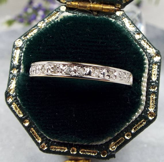 Vintage 9ct Yellow & White Gold Skinny Diamond Stacking  Band Ring / Size N