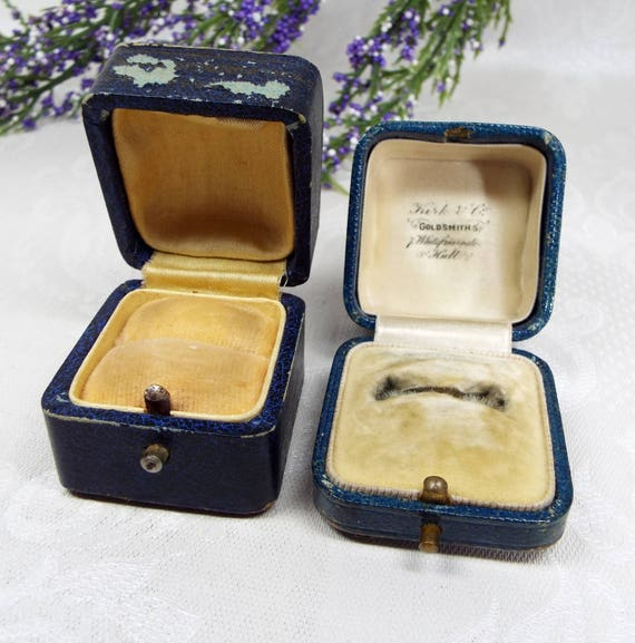 Vintage / Antique 2 Old Blue Jewellery Ring Boxes for Display Collection Gift