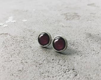 Deep purple stud earrings, burgundy posts by CuteBirdie
