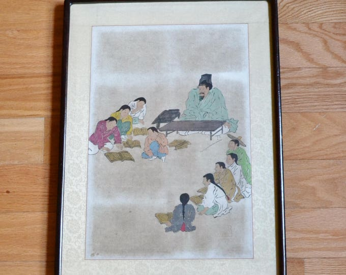 Vintage Asian Wood Block Print Painting Original Black Lacquer Frame Chinoiserie PanchosPorch