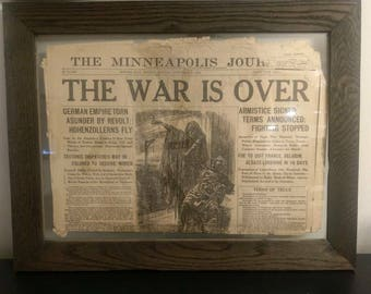 Framed Antique WW1 Newspaper