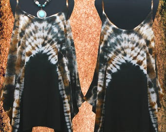 Abstract Bleach Rusty Hand dyed Wearable Art Spaghetti Strap Tank Top