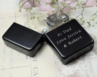 Personalised Engraved Matte Black Lighter - Wedding Gifts, Best Man & Usher Gifts, Stocking Fillers, Smoking Gifts, Engraved Lighters