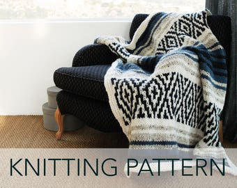 Knitting Pattern // Sarape Mexican Geometric Mosaic Striped Afghan Throw Rug // Mexican Blanket PATTERN