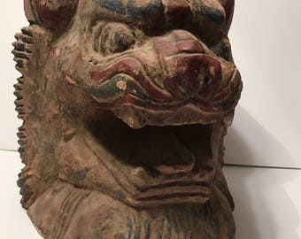 Antique chinese hand painted / hand carved dragon head
