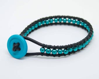 Chan Luu style, Leather bead and button wrap bracelet