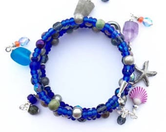 Beach Bracelet, Cobalt Blue Charm Bracelet, Memory Wire Bracelet, Gemstone Bead Charms with a Starfish Charm