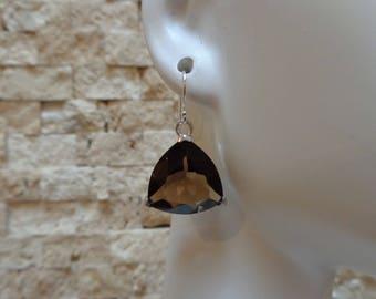 15mm Trilliant Cut Smokey Topaz Sterling Silver earrings