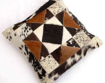 Natural Cowhide Luxurious Patchwork Hairon Cushion/pillow Cover (15''x 15'')a147