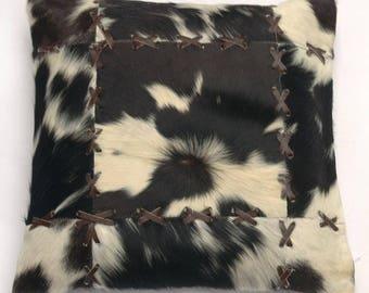 Natural Cowhide Luxurious Patchwork Hairon Cushion/pillow Cover (15''x 15'')a206