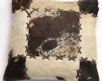 Natural Cowhide Luxurious Patchwork Hairon Cushion/pillow Cover (15''x 15'')a214