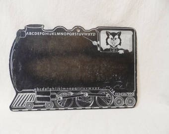 Vintage Child's Chalkboard-Cat-Train-Upper Lower Case Alphabet-Numbers-Old School Teaching-Learning-School-Retro-Orphaned Treasure-062917K