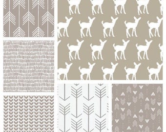 Neutral Crib Bedding - Blanket, Crib Sheet and Crib Skirt with Deer, Arrows and Geometrics in Beige/Ecru/Taupe/White