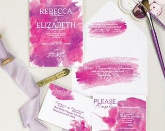 "Watercolor Wedding Invitation, Modern Wedding Suite, ""Painted Aquarelle"", Modern - Bold - Fun"
