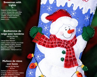 "Bucilla Snowman With Lights ~ 18"" Felt Christmas Stocking Kit #85101, Frosty New DIY"