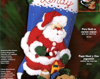 "Bucilla Santa & Playful Bear ~ 18"" Felt Christmas Stocking Kit #84946, Teddy DIY"