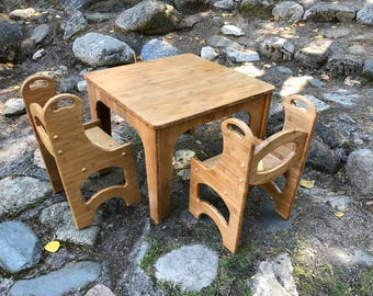 wooden toddler table and 2 chair set waldorf nursery table playroom table and