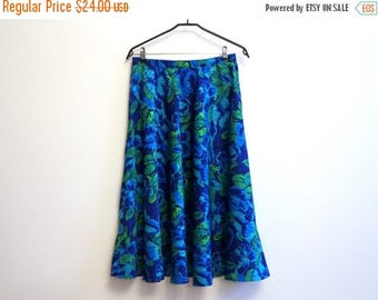 ON SALE Circle Floral Print Silky Skirt Cobalt Royal Blue Green Elastic Waist Midi