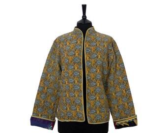 KANTHA JACKET - XX Large - Short style - Size 16/18 - Ochre and Grey. Reverse multicoloured.