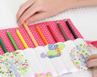 Pencil Roll - Pencil Case - Pencil Holder - Colouring - Owls