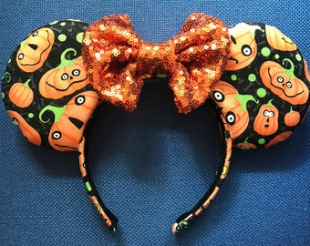 Pumpkin Halloween Minnie/Mickey Ears