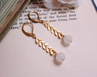 Dainty chevron dangling earrings White agate Antique gold long earrings Gold Chevron drop earrings gift under 10