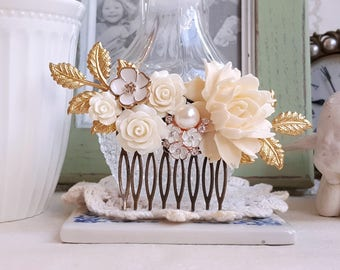 Golden bridal flower comb Creamy white roses antique inspired Bridal hair accessory Antique gold comb