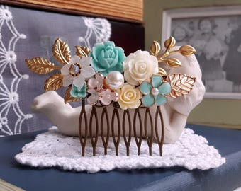 Aqua blue bridal hair comb Pearl and flower assemblage Antique gold leaves hair comb