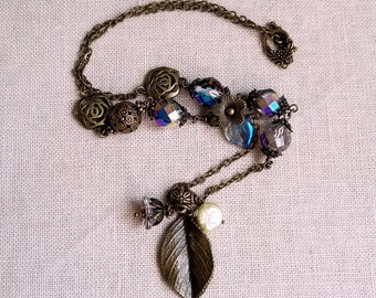 Antique inspired Czech glass necklace Leaf pendant necklace Mother's day gift
