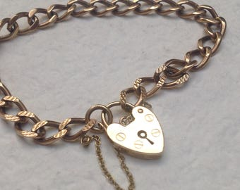 Valentine's day Vtg 9ct Gold Curb Charm Bracelet Heart Padlock - 10g Hallmarked Coupon CODE1959 for free shipping