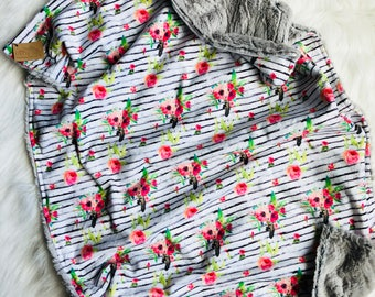 Double Sided Minky, Baby Girl Baby Blanket. Newborn. Grey.Pink. Black. Green. Floral. Modern. Measures approx. 35in x 26in.