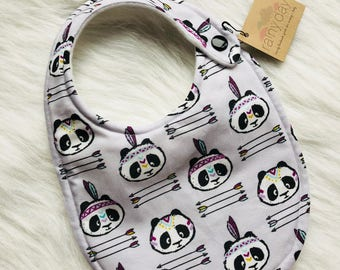 Baby girl bib, designer bib with snap. Purple. Panda Bears. Indian. Feathers. Arrows. Hipster. Modern. Drooling. Newborn.