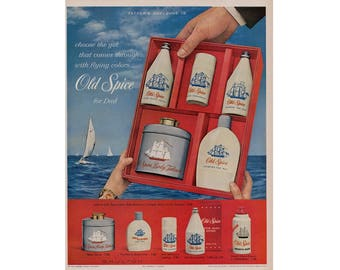 Vintage 1960 poster advertisement for Old Spice  - 62