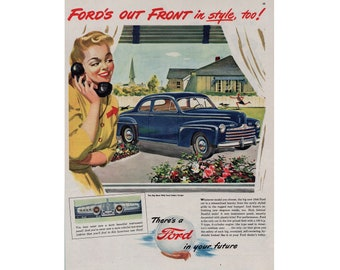 Vintage poster advertisement of a 1946 Ford  ------ 63
