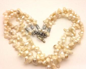Pearl Necklace Keshi Vintage White Freeform Handmade 3 Row
