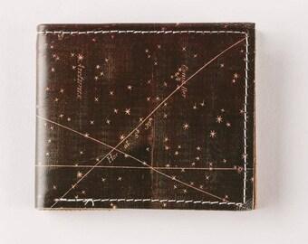 Astronomy wallet - mini wallet - Leather wallet - mens wallet - bifold wallet - compact wallet - front pocket wallet - womens wallet