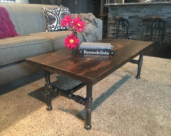Corey Modern Rustic Industrial Pipe Coffee Table, Pipe leg Coffee Table, Industrial Coffee Table, Rustic Coffee Table, Industrial Table