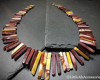 Mookaite Graduated Fan Necklace, Mookaite Necklace, Mookaite Jewelry, Cleopatra Style, Semi Precious Gemstone, Boho Fringe Necklace, Gift