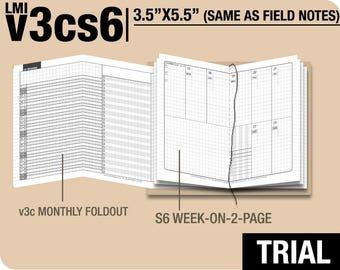 Trial [FIELD NOTES v3s5 w/o daily] November to December 2017 - Midori Travelers Notebook Refills Printable Planner.
