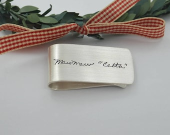 Personalized Money Clip-handwriting jewelry-Sterling Silver Money Clip-Anniversary Gift-Christmas Gift-Gift for Him