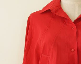 80s red bat wing blouse. Bright red shirt. Poppy red dolman top. Red boxy 90s shirt. 80s red slouchy shirt. M - L